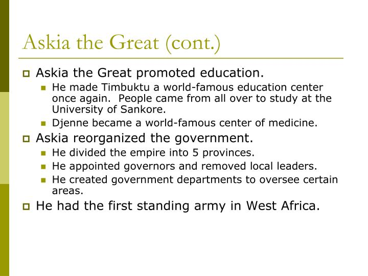 Askia the Great (cont.)