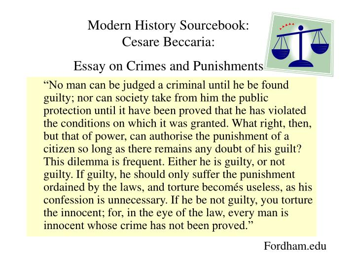 beccaria essays on crime and punishment An essay on crimes and punishments is one of the greatest treatises in the democratic tradition, a testament to human freedom and social justice for students of law or political theory (of which i am one) this is an excellent account of some of the fundamental principles of democratic society and jurisprudence.