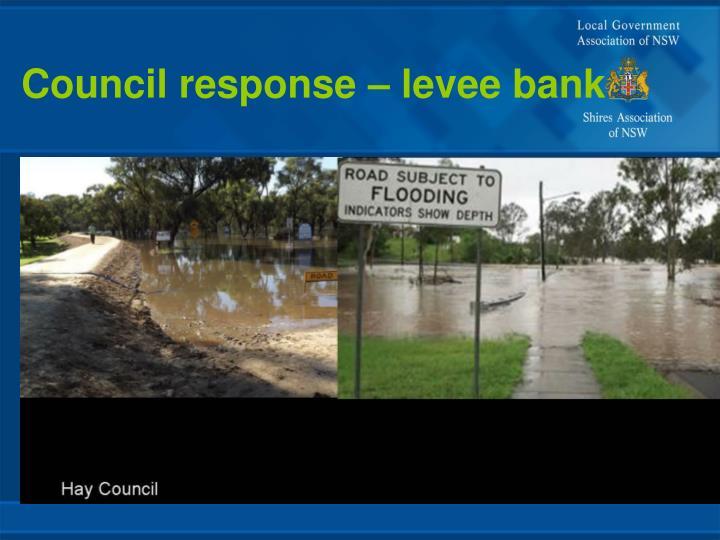 Council response – levee bank