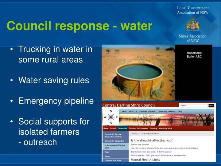 Council response - water