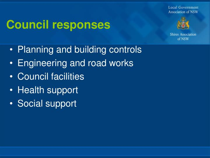 Council responses