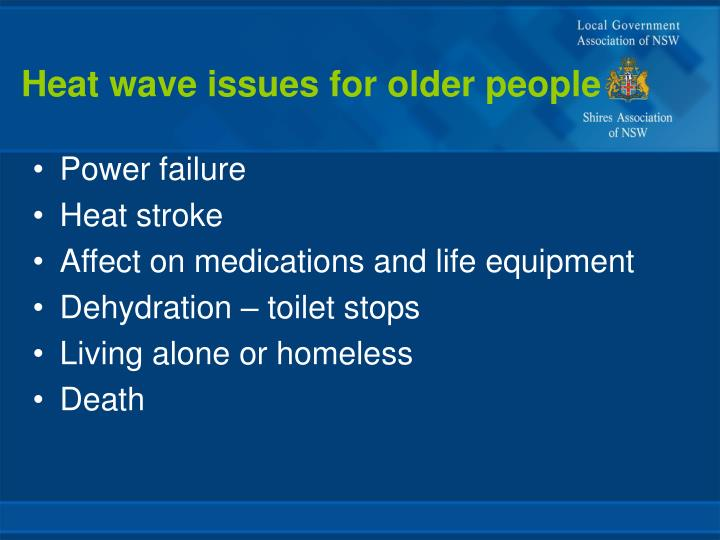 Heat wave issues for older people