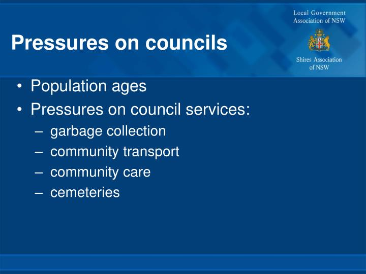 Pressures on councils