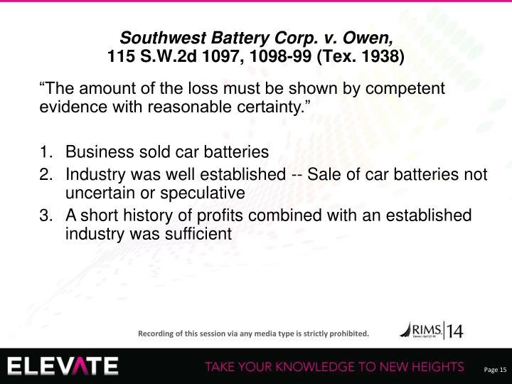 Southwest Battery Corp. v. Owen,