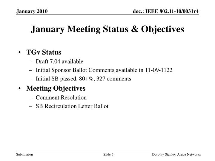 January Meeting Status & Objectives