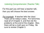 listening comprehension teacher talk