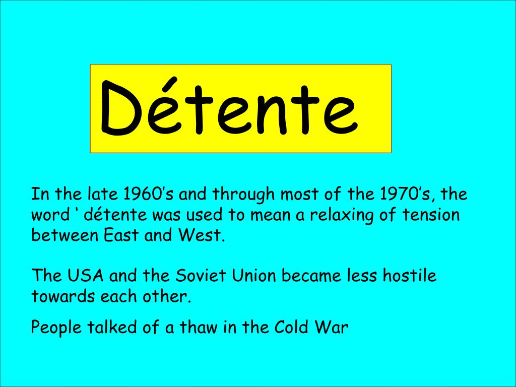 what does the word detente mean