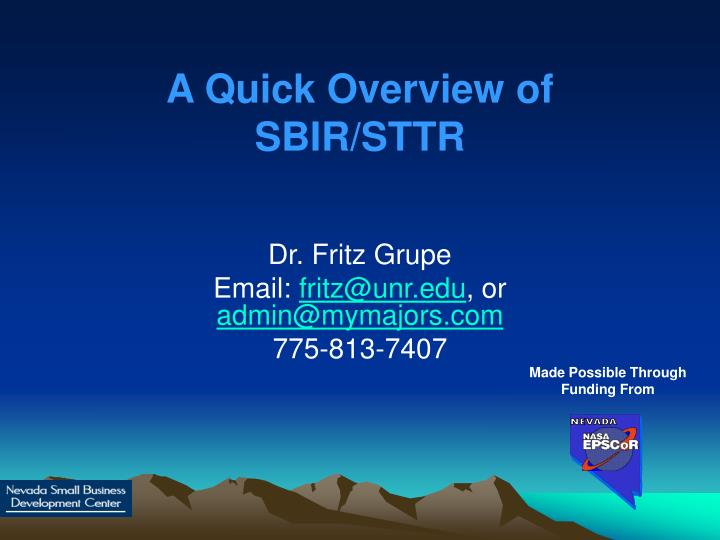 A quick overview of sbir sttr