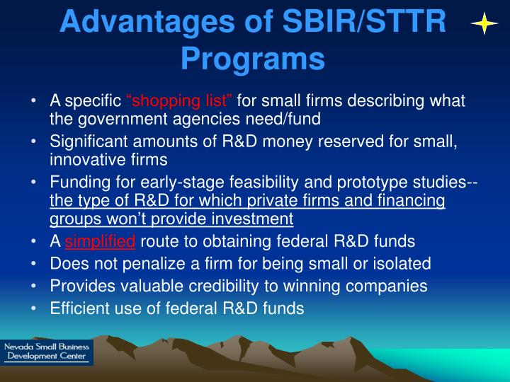Advantages of SBIR/STTR Programs
