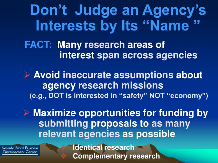 "Don't  Judge an Agency's Interests by Its ""Name """