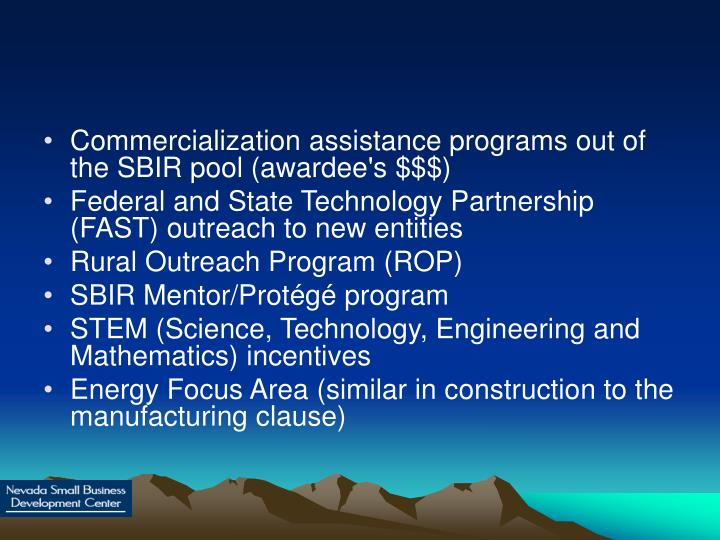 Commercialization assistance programs out of the SBIR pool (awardee's $$$)