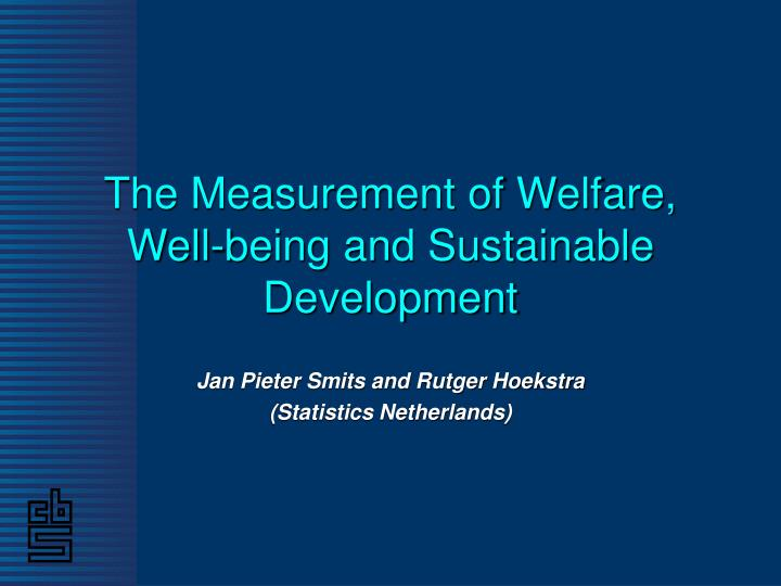 the measurement of welfare well being and sustainable development n.