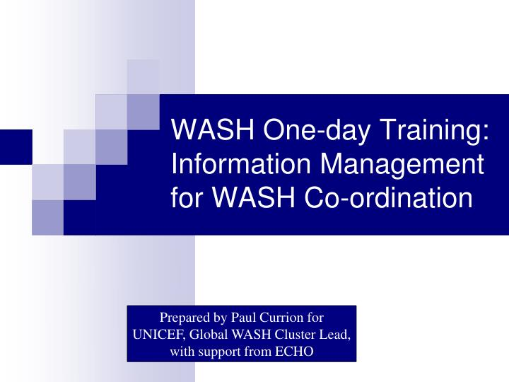 wash one day training information management for wash co ordination n.