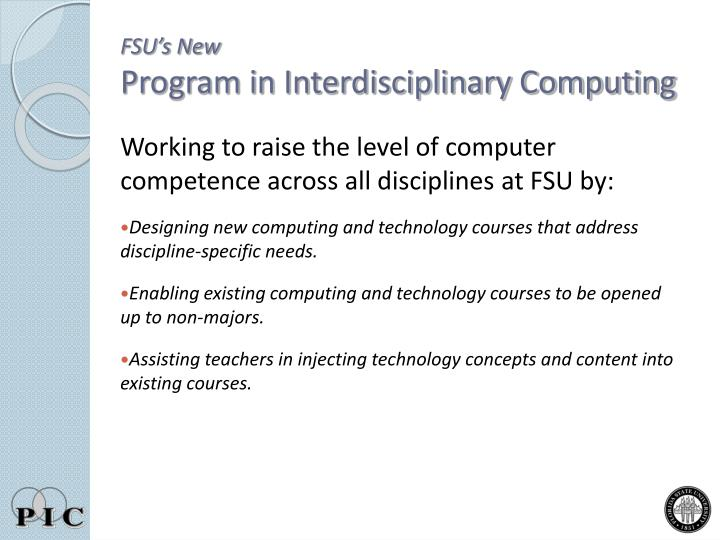 Fsu s new program in interdisciplinary computing