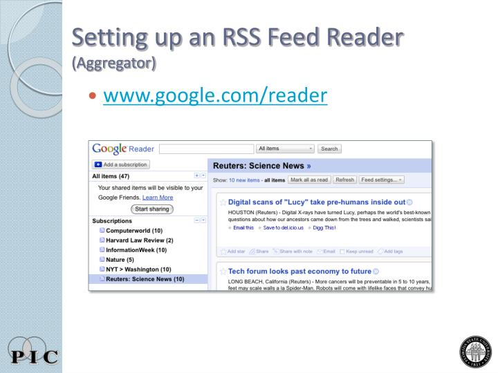 Setting up an RSS Feed Reader