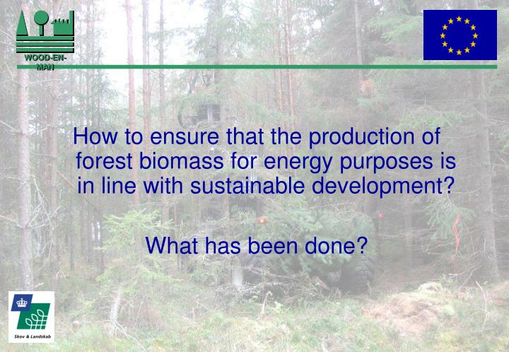 How to ensure that the production of forest biomass for energy purposes is in line with sustainable ...
