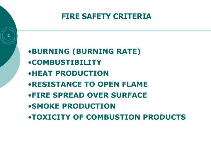 FIRE SAFETY CRITERIA