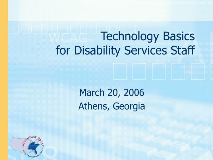 technology basics for disability services staff n.