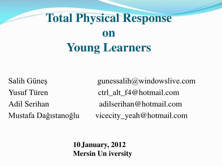 total physical response on young learners n.