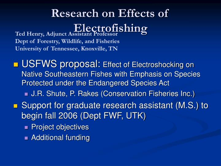 research on effects of electrofishing n.
