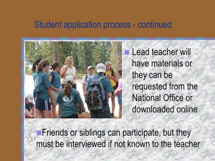 Student application process - continued