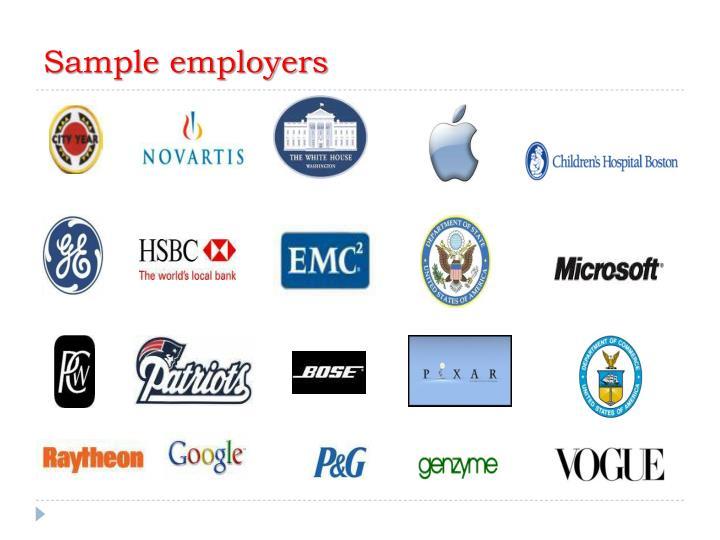 Sample employers