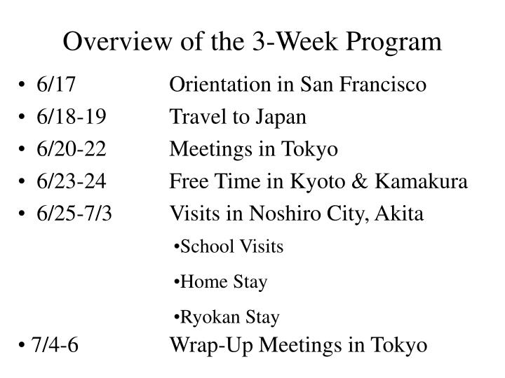 Overview of the 3 week program