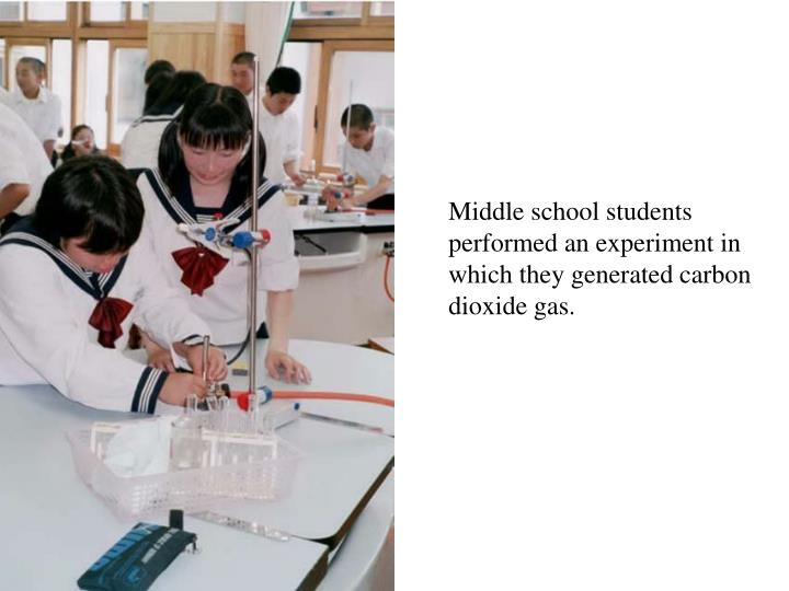 Middle school students performed an experiment in which they generated carbon dioxide gas.