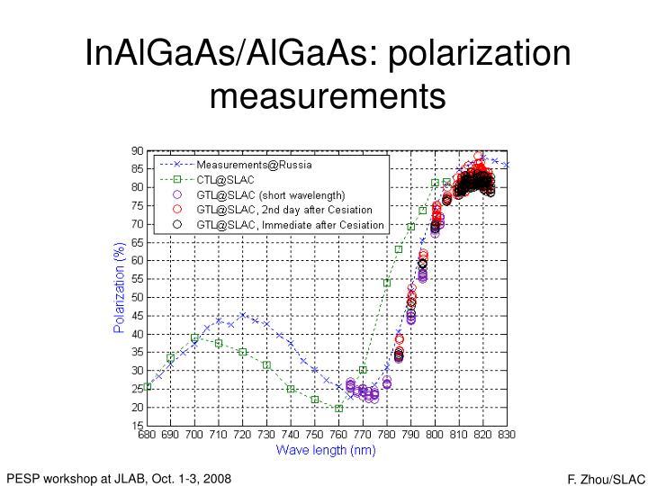 InAlGaAs/AlGaAs: polarization measurements