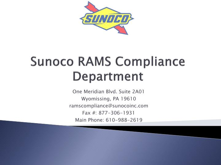 sunoco rams compliance department n.