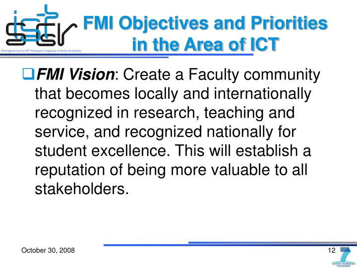 FMI Objectives and Priorities in the Area of ICT