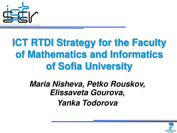 Ict rt di strategy for the faculty of mathematics and informatics of sofia university