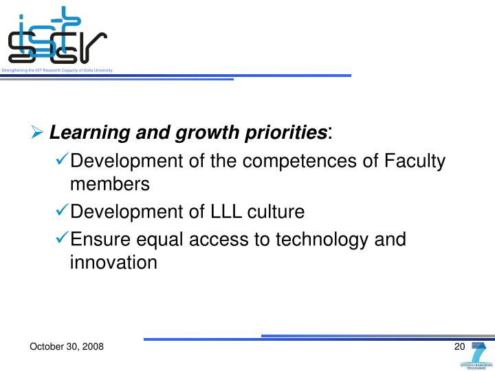 Learning and growth priorities