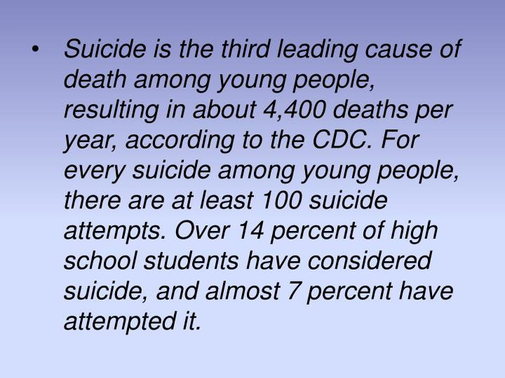 Suicide is the third leading cause of death among young people, resulting in about 4,400 deaths per year, according to the CDC. For every suicide among young people, there are at least 100 suicide attempts. Over 14 percent of high school students have considered suicide, and almost 7 percent have attempted it.