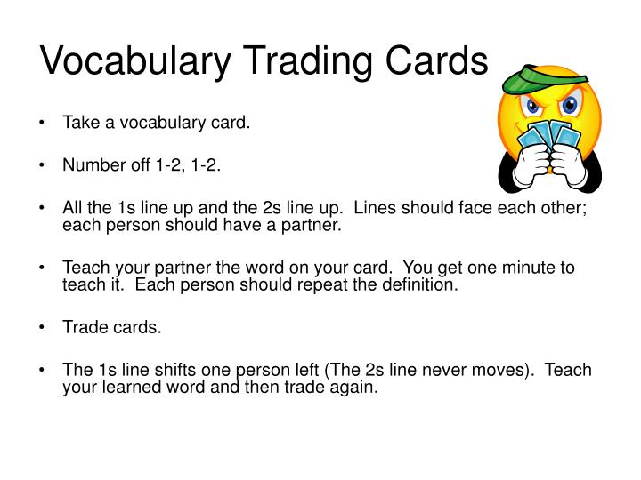 vocabulary trading cards n.