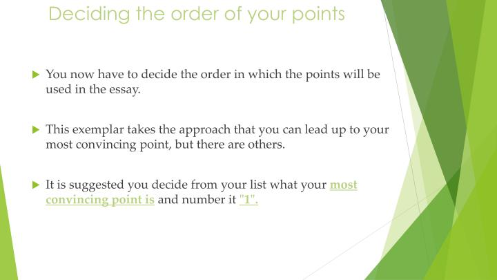 Deciding the order of your points