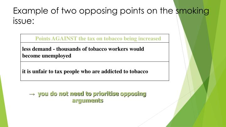 Example of two opposing points on the smoking issue: