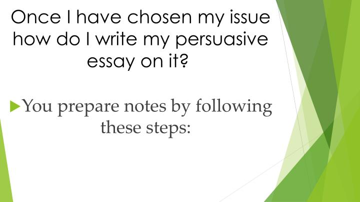 Once I have chosen my issue how do I write my persuasive essay on it?