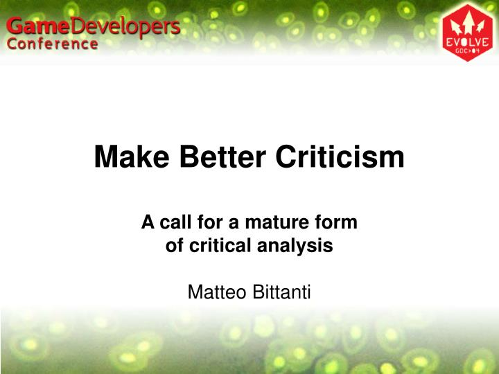 make better criticism n.