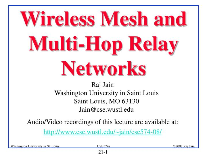 wireless mesh and multi hop relay networks n.