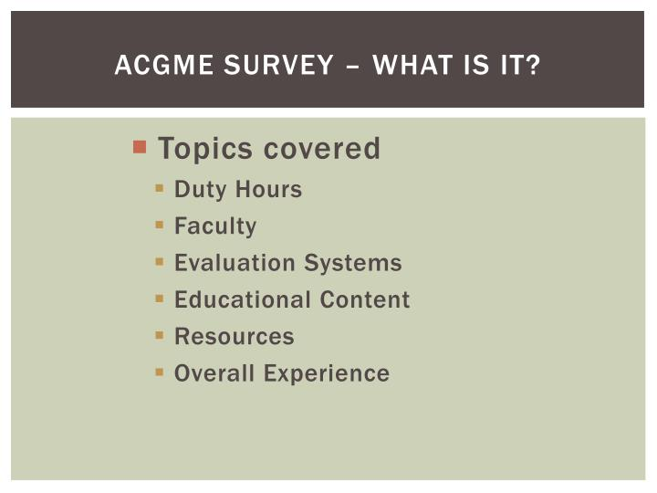 Acgme survey what is it1