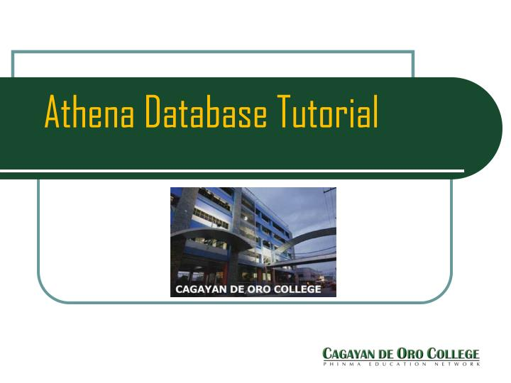 athena database tutorial n.