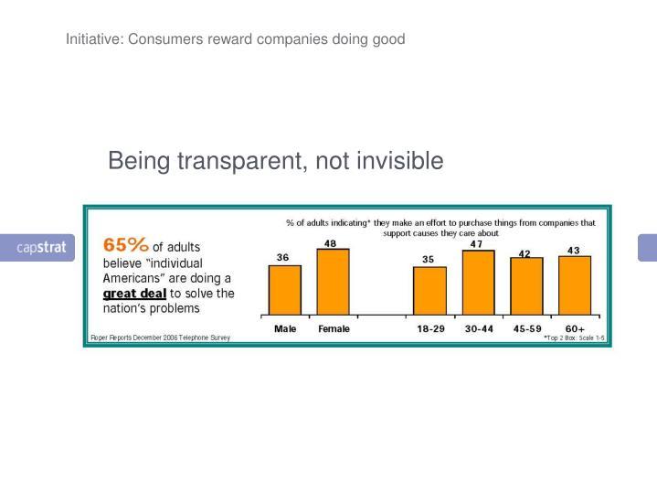 Initiative: Consumers reward companies doing good
