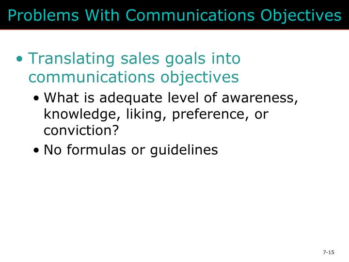 Problems With Communications Objectives
