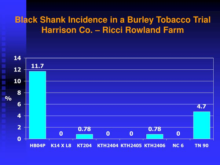 Black Shank Incidence in a Burley Tobacco Trial