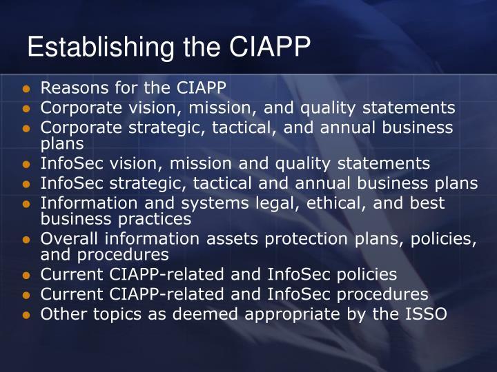 Establishing the CIAPP