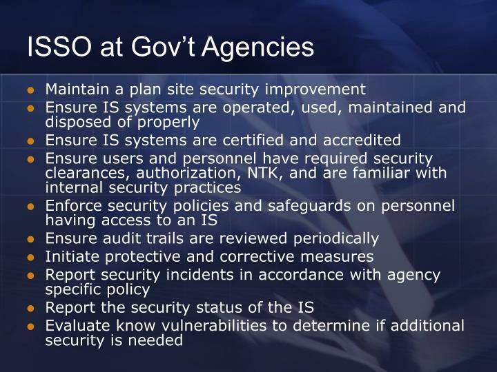 ISSO at Gov't Agencies