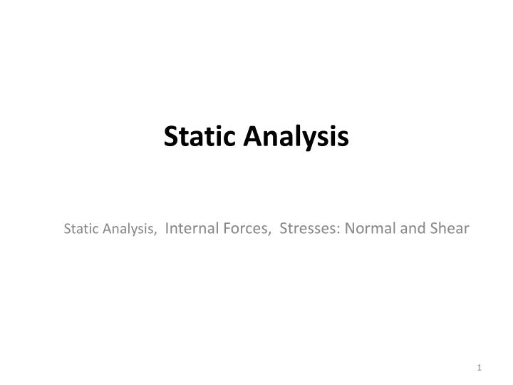 static analysis n.