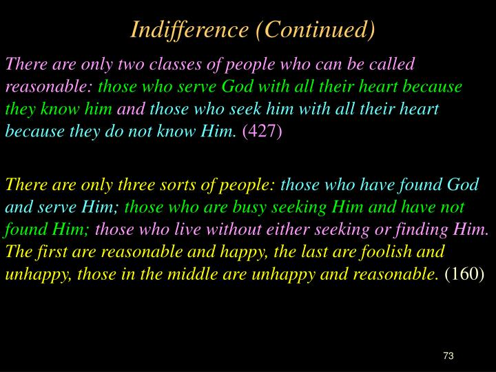 Indifference (Continued)
