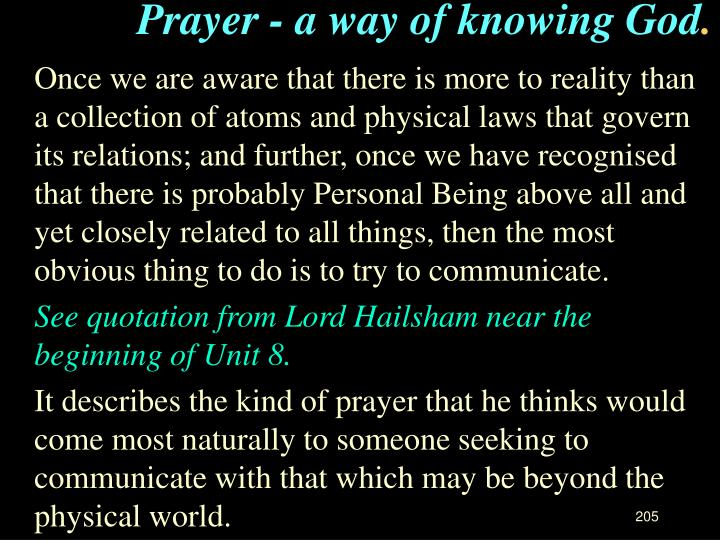 Prayer - a way of knowing God